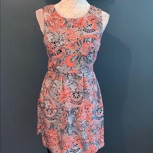 3/$15 One Clothing | Navy/White/Peach Print Dress